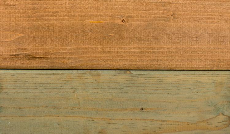 Woodvision kan in twee kleuren dompelimpregneren: bruin en groen